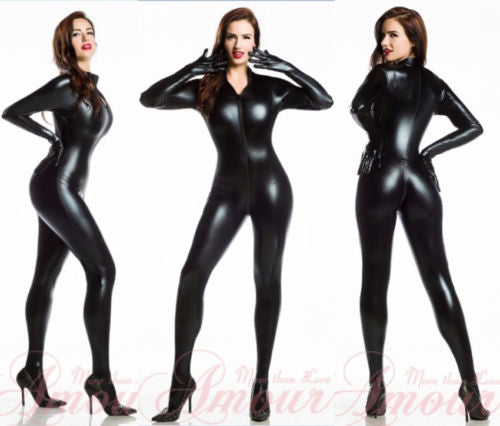 Black PVC Faux Leather Spandex Vinyl Catsuit