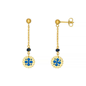18 Karat Yellow Gold Sapphire and Blue Enamel Drop Earrings