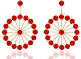 Coral Pinwheel Dangle Earrings