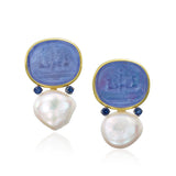 Glass intaglio and baroque pearl earrings