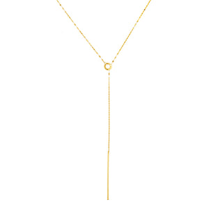 14 Karat Yellow Gold Sliding Lariat Necklace