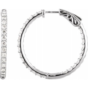 14 Karat White Gold Inside Out Diamond Hoop Earrings