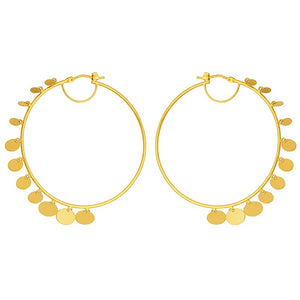 14 Karat Yellow Gold Small Disk Hoop Earrings