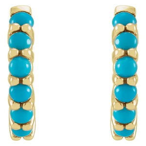14 Karat Yellow Gold Turquoise Hoop Earrings, Front View