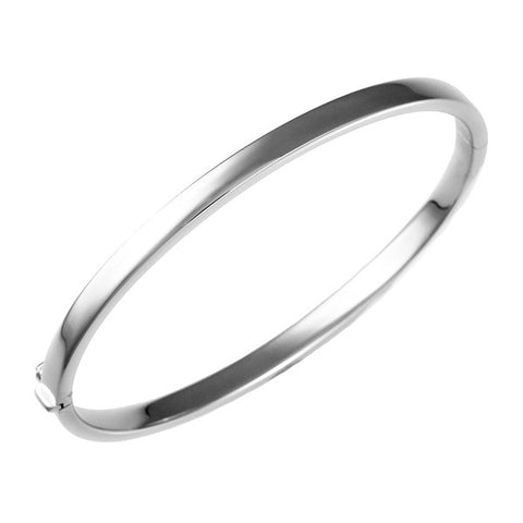 14 Karat White Gold 4mm Bangle Bracelet