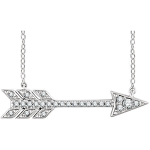 14 Karat White Gold Diamond Arrow Necklace