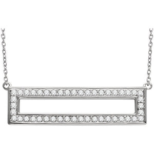 14 Karat White Gold Rectangle Diamond Necklace