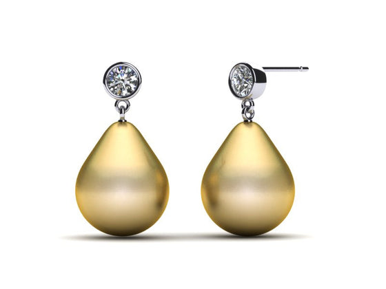 18 Karat White Gold Diamond and Golden Pearl Drop Earrings