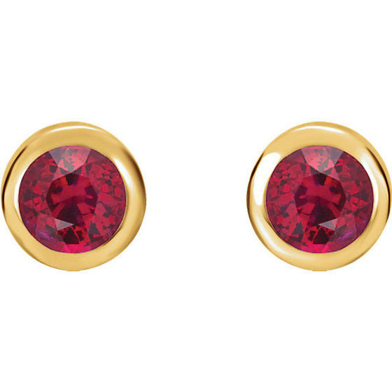 14 Karat Yellow Gold Bezel Set Ruby Stud Earrings