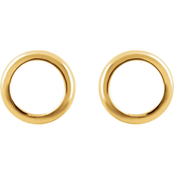 14 Karat Yellow Gold Open Circle Earrings