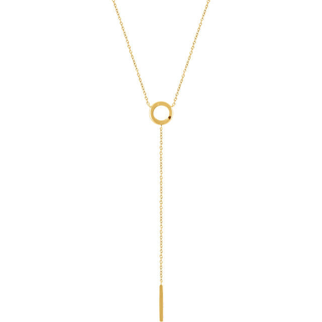 14 Karat Yellow Gold Circle Y Necklace