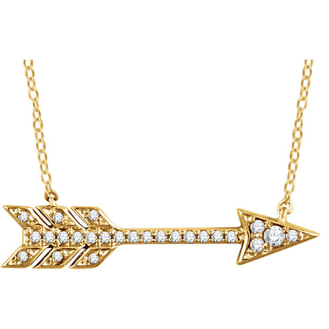 14 Karat Yellow Gold Diamond Arrow Necklace