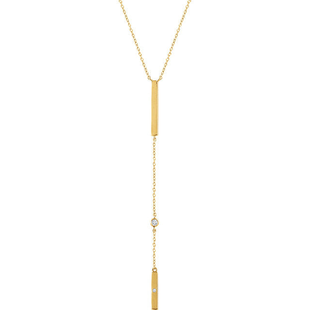 14 Karat Yellow Gold Diamond Vertical Bar 'Y' Necklace