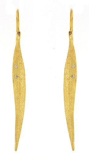 14 Karat Yellow Gold Diamond Leaf Dangle Earrings