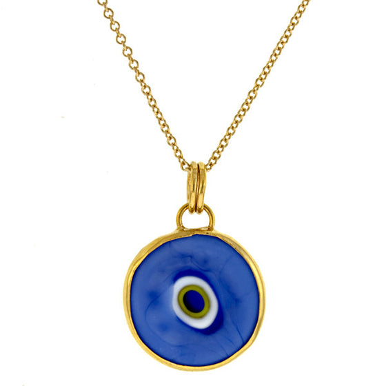 14 Karat Yellow Gold Blue Evil Eye Pendant