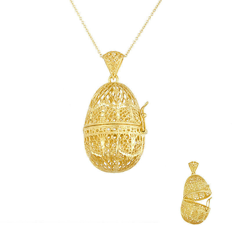 14 Karat Yellow Gold Filigree Style, Egg Shaped Pendant