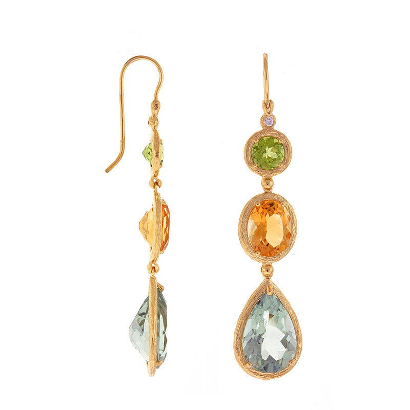14 Karat Yellow Gold Diamond, Peridot, Citrine and Blue Topaz Drop Earrings