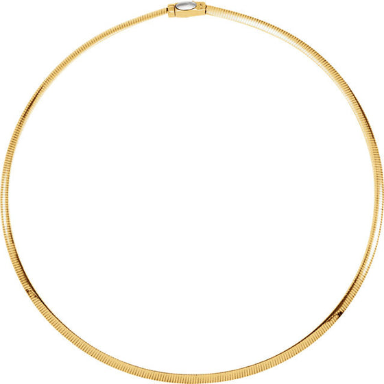 14K Yellow & White Gold 4mm Two Tone Reversible Omega Chain Necklace