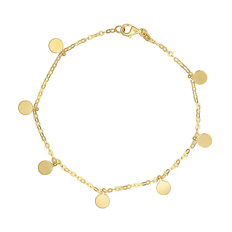 14 Karat Yellow Gold Small Plate Charm Bracelet