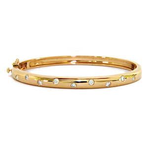 14 Karat Yellow Gold Diamond Bangle Bracelet