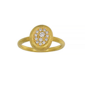 14 Karat Yellow Gold Textured Oval Diamond Ring