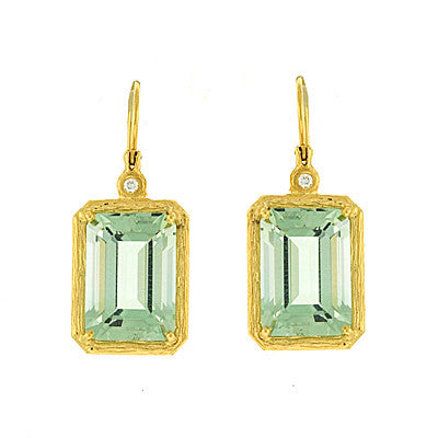 14 Karat Yellow Gold Green Amethyst and Diamond Earrings