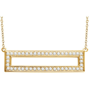 14 Karat Yellow Gold Rectangle Diamond Necklace