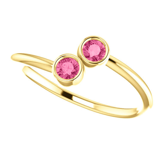 14 Karat Yellow Gold Pink Tourmaline Bypass Style RIng