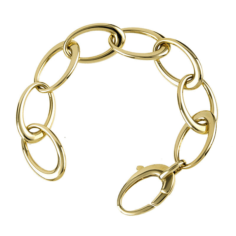 14 Karat Yellow Gold Oval Link Bracelet
