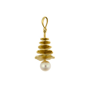 14 Karat Yellow Gold Pearl & Graduated Disc Pendant