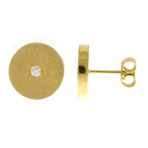 14 karat yellow gold round diamond disk earrings