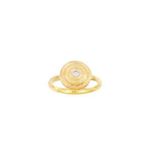 14 Karat Yellow Gold Round Diamond Stepped Ring