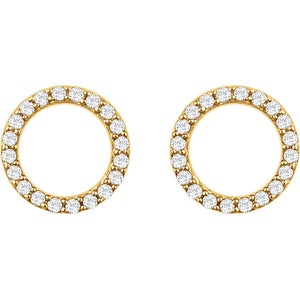 14 Karat Yellow Gold Diamond Circle Earrings