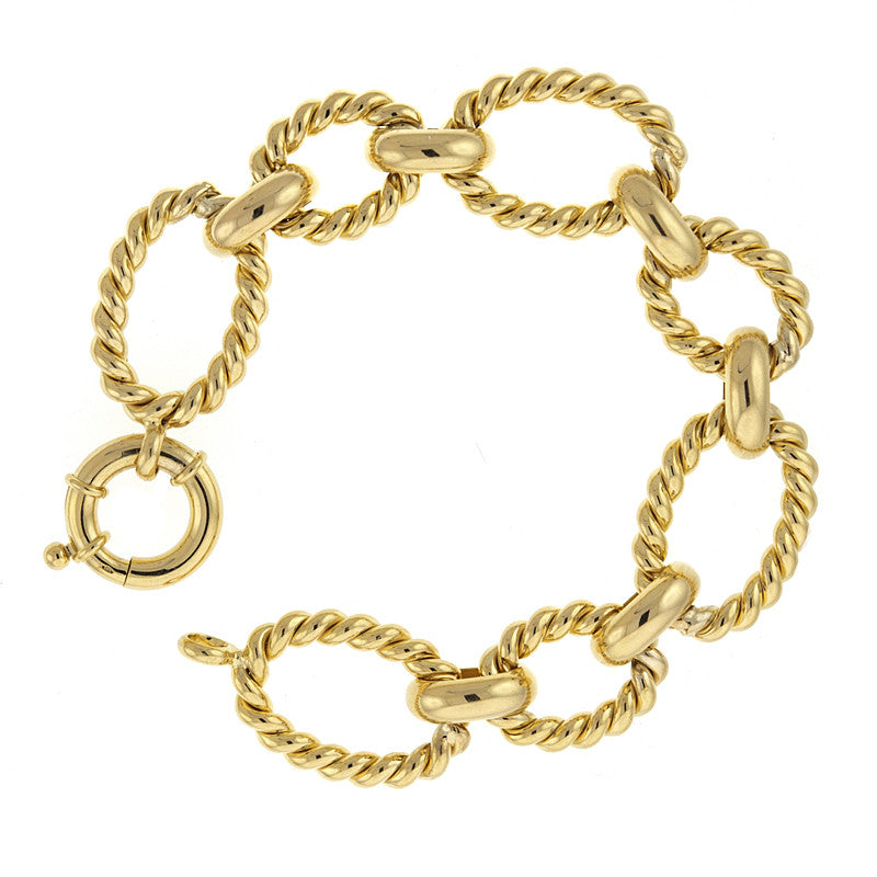 14 Karat Yellow Gold Mixed Link Bracelet
