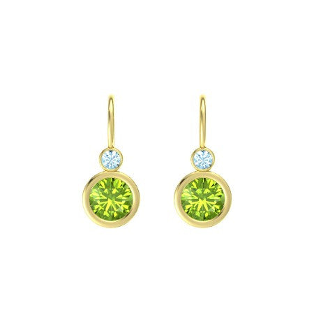 14 Karat Yellow Gold Peridot and Aquamarine Drop/Dangle Earrings