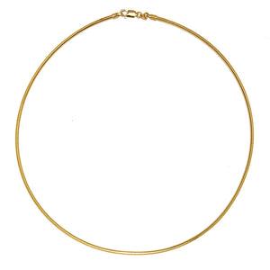 18K 2mm Omega Choker Necklace
