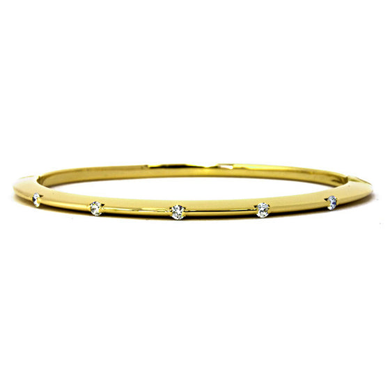 18 Karat Yellow Gold Knife Edge Diamond Bangle Bracelet