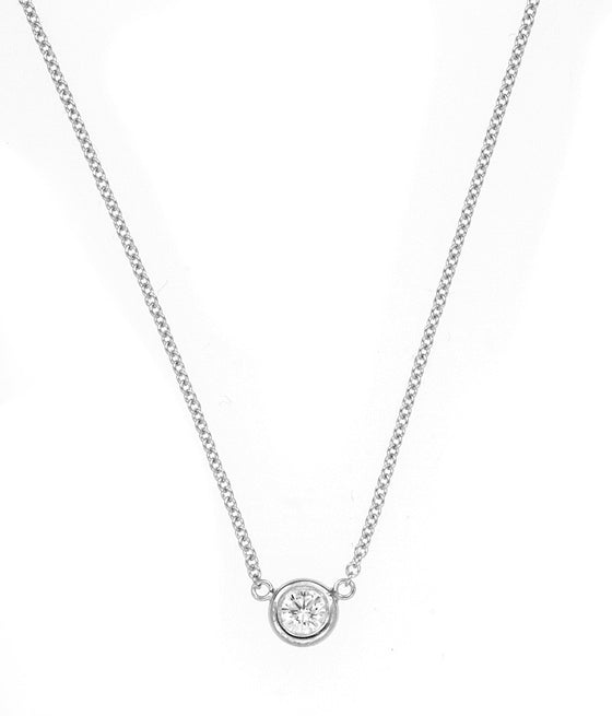 18 Karat White Gold Bezel Set Diamond Pendant