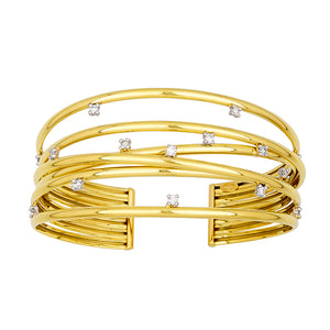 18K Yellow Gold Wide Diamond Wire Cuff Bracelet