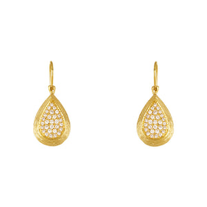 18 Karat Yellow Gold Pear Shaped Diamond Drop Earrings