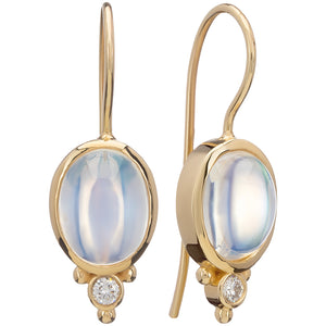 18 Karat Yellow Gold Moonstone and Diamond Drop Earrings