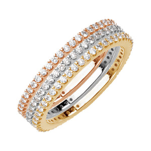 14 Karat Yellow, White and Rose Gold Stackable Diamond Bands
