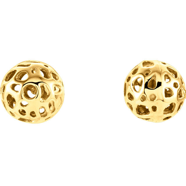 14 Karat Yellow Gold 7.4mm Pierced Gold Ball Earrings