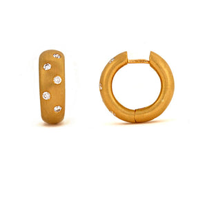 18 karat yellow gold diamond huggie earrings