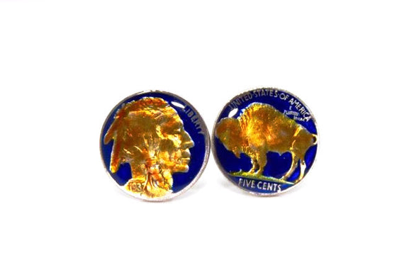 Enameled 1937 American Buffalo Nickel Coin Cufflinks