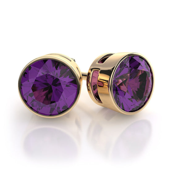 18 Karat Yellow Gold Amethyst Earrings