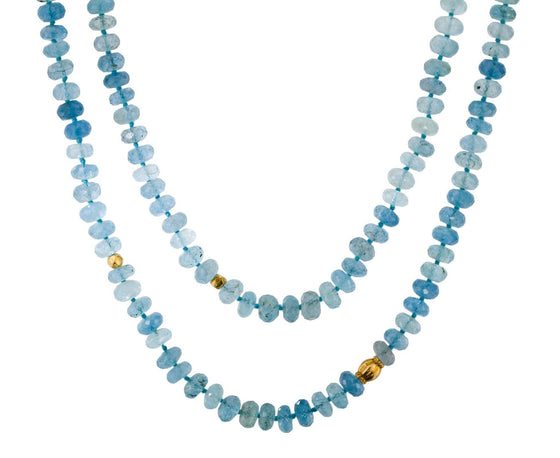 Aquamarine and 18K Yellow Gold Bead Necklace