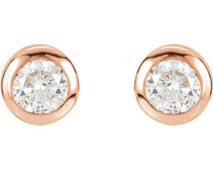 18 Karat Rose Gold Diamond Stud Earrings