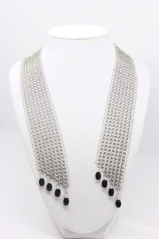Stainless Steel Long Chain Mail Necklace/Scarf with Faceted Black Onyx Beads