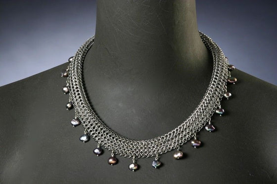 Stainless Steel Rolled Chain Mail Mesh Necklace with Black Freshwater Pearls